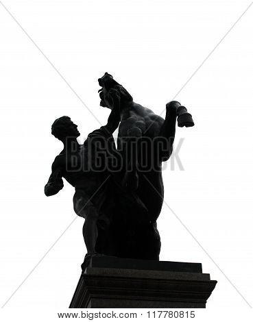 Man and horse on hind legs, sculpture in Vienna, Austria.