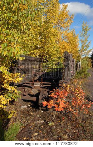 Abandoned relics of the Quincy Copper Mine coal cars sit and decay on Quincy Hill above Houghton Michigan. Fall leaves overhang wooden cars as they sit on forgotten train tracks.