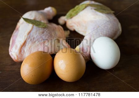 Raw chicken meat and three eggs