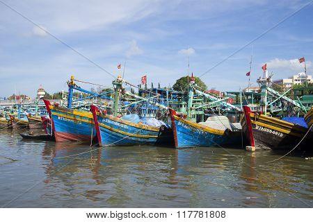 Parking fishing schooners in the port of Phan Thiet. Vietnam