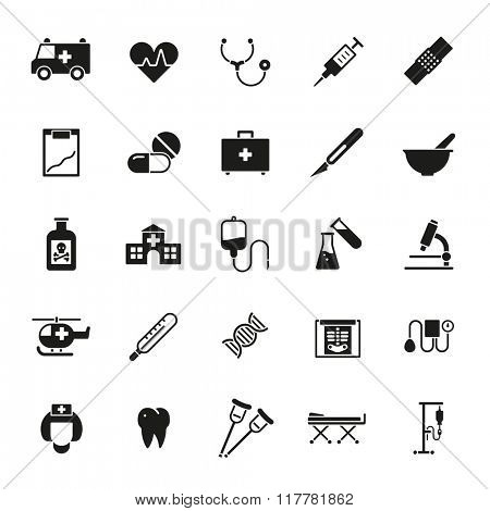 Medical and healthcare solid vector icon set. Collection of 25 medical and healthcare related glyph icons