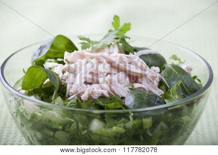 Vegetable Salad With Chicken Meat.