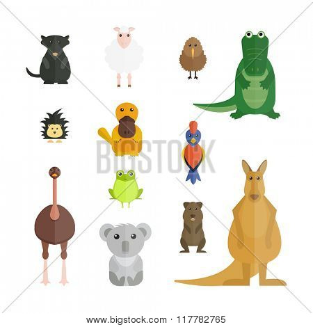 Australia wild animals cartoon vector collection. Australia popular animals like crocodile, koala, kangaroo and koala. Australian animals nature flat style vector