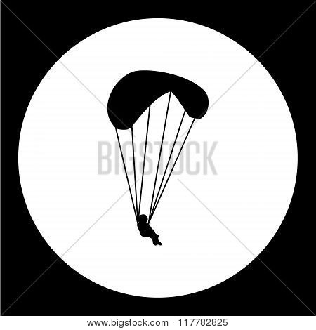 Simple Parachutist Man Isolated Black Icon Eps10