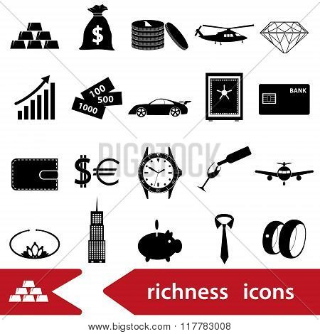 Richness And Money Theme Black Icons Set Eps10