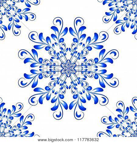 Blue Vector Seamless Mandala Pattern in Gzhel style