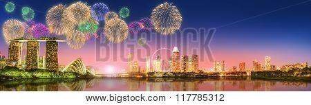 Fireworks in Marina Bay, Singapore Skyline