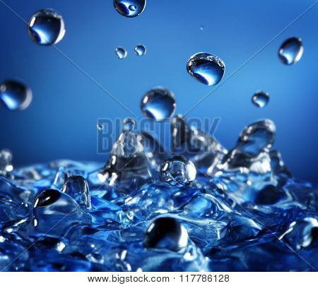 Abstract Splash of Water on a Blue Background