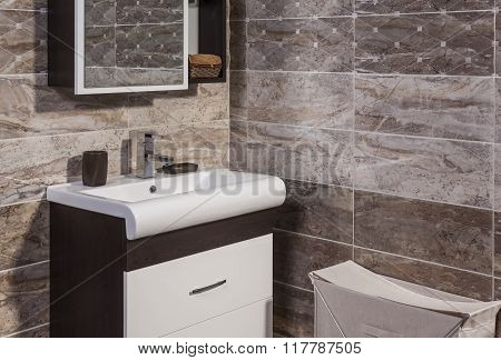 Detail Of Fashionable Bathroom - Toilet And Sink