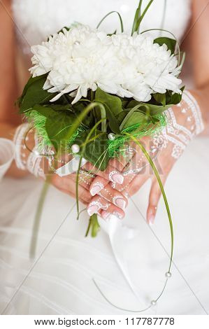Hands Of The Bride. Mehendi White Henna