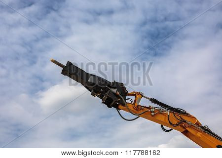 Backhoe Loader Or Bulldozer - Excavator And Blue Sky