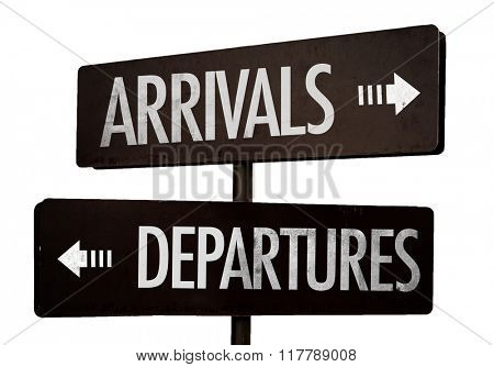 Arrivals - Departures signpost isolated on white background