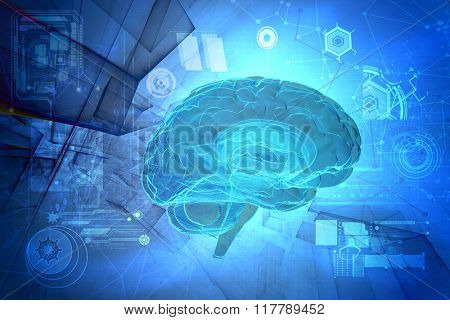 3d human brain on abstract tech background