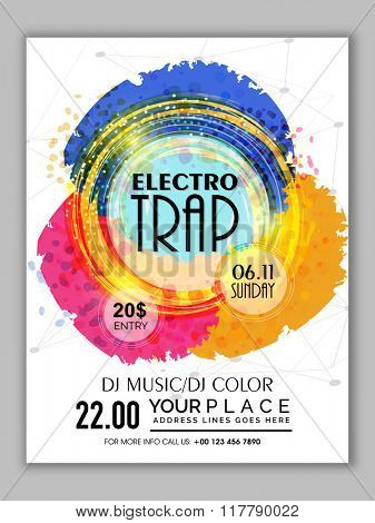 Colorful abstract design decorated Flyer, Banner or Template for Electro Trap Music Party celebration.