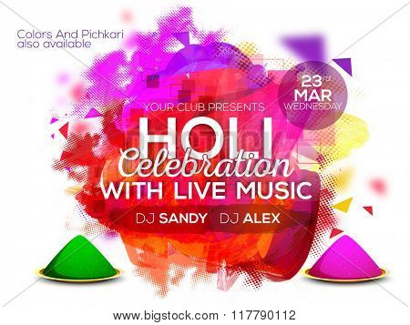 Colourful abstract design decorated Poster, Banner or Flyer design for Indian Colour Festival, Holi celebration.