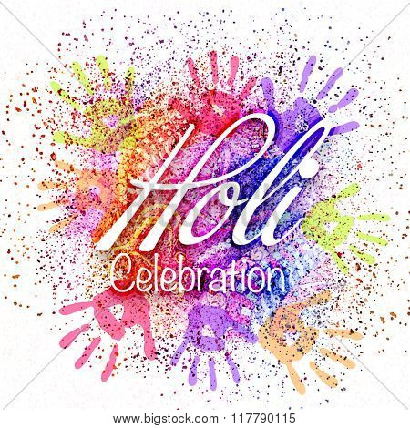 Colourful floral design and hand prints decorated poster, banner or flyer for Indian Colour Festival, Holi celebration.
