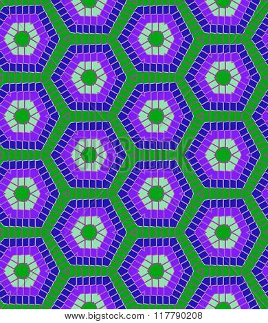 Modern Geometric Seamless Pattern In Blue And Green Colors