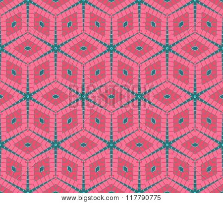 Modern Rhombus Seamless Pattern In Pink And Green Colors