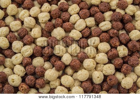 Breakfast Cereal In A White And Brown Bowl Close Up