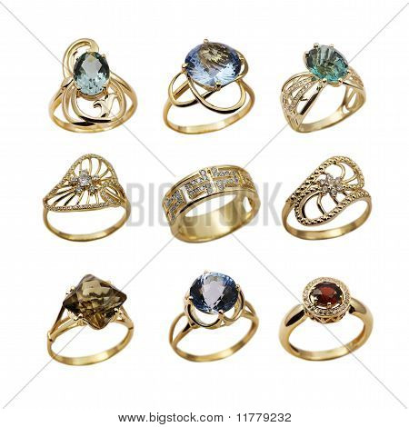 Set Of Elegant Female Jewelry Golden Rings