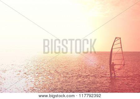 Windsurfer Against Of Beautiful Seaview
