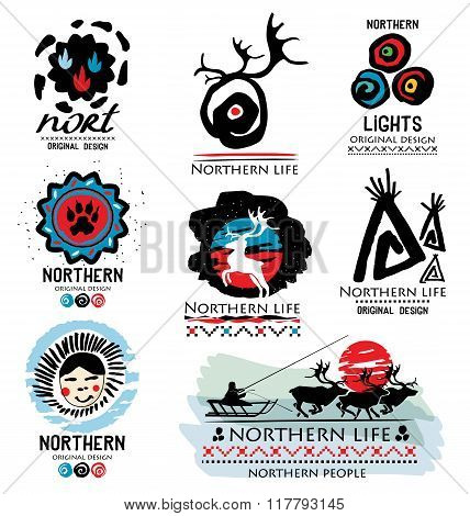 Traditional life of Northern peoples. Deer logo. Northern logo. Far North logo. Northern team logo.