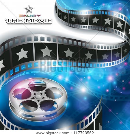 Abstract Cinema Background with Blurred Lights, Film Reel and Waving Film Strip