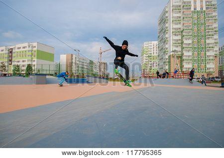 Girl doing skate trick