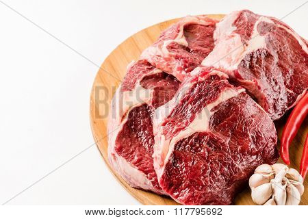 raw beef meat with chili pepper