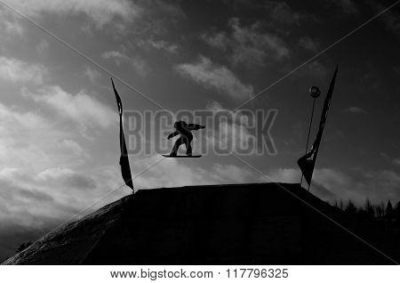 Flying sowboarder