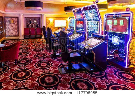 Interior of casino Tornado. Slot machines lounge. Klaipeda, Lithuania