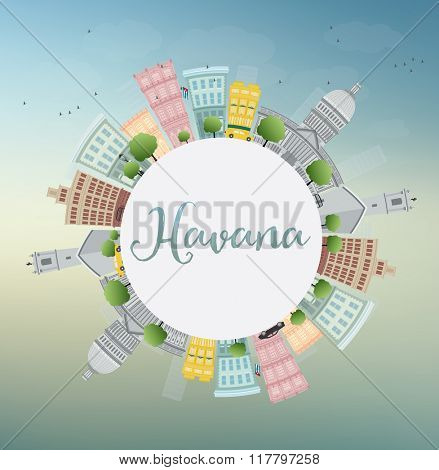 Havana Skyline with Color Building, Blue Sky and Copy Space. Vector Illustration. Business Travel and Tourism Concept with Historic Buildings. Image for Presentation Banner Placard and Web Site.