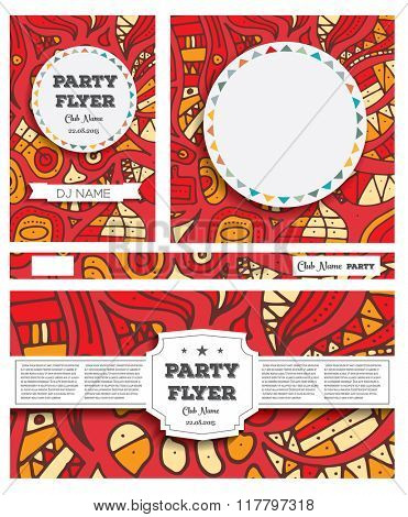 Club Flyers with copy space and hand drawn abstract background in red color. Vector illustration. Party concept. Card for holidays.