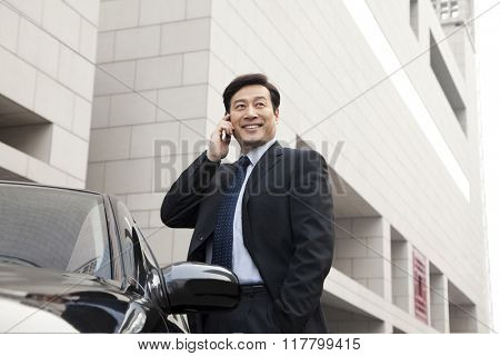 businessman making phone call beside the car