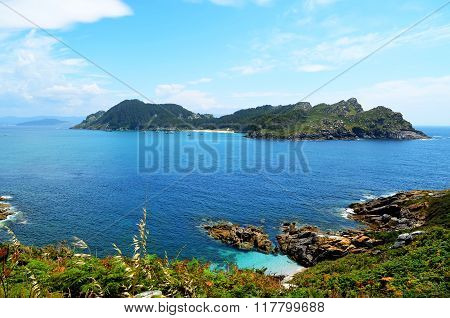 General view of San Martiño Island (Islas Cies, Spain)