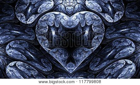 Abstract image. Cold mystical heart.