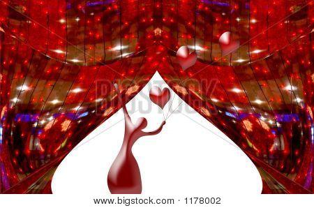 Red Abstract Vorhänge am Fenster mit einer Silhouette der Ballerina und Kugeln Herzen
