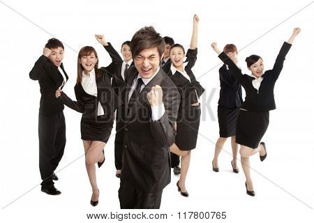 A group of business people holding umbrella