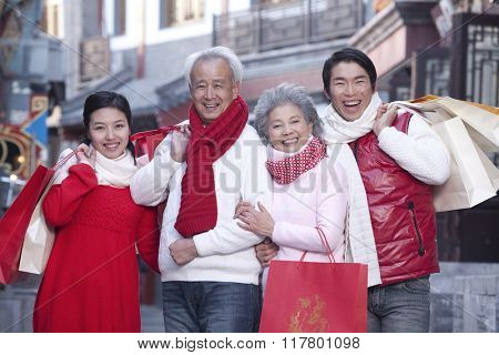Family go shopping