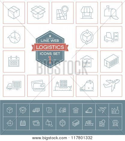 Set Logistics icons. Trendy eco vector elements.  Modern flat design.