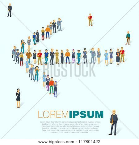 Crowded people arrow symbol. Vector template.