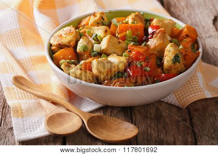 Chicken Curry With Pumpkin And Pepper Close-up. Horizontal