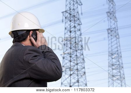 Construction manager on a mobile phone