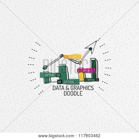 Vector multicolored hand-drawn doodles, icon, stamp. Chart or graphic concept.