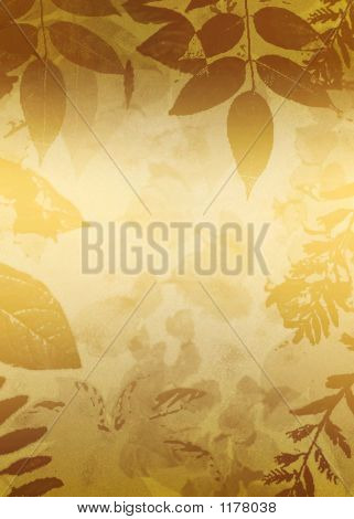 Gold Leaves Grunge Background