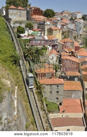 Funicular Next To Old Houses
