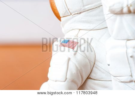USA flag on the sleeve of an astronaut.