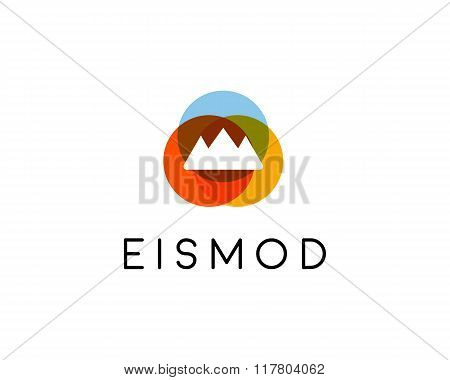 Abstract summit mountain logo design. Top foundation creative symbol. Universal travel vector icon.