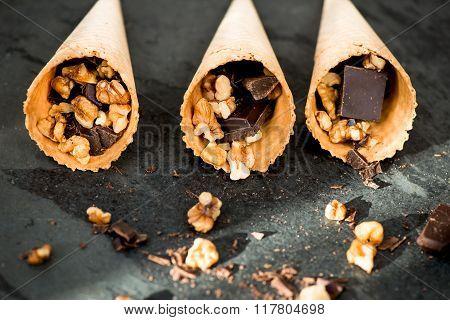 Walnuts, Chocolate And Waffle Cone