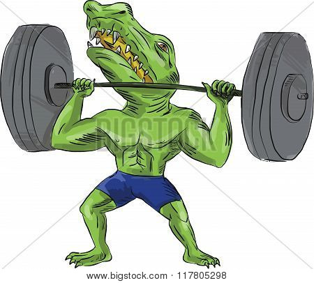 Sobek Weightlifter Lifting Barbell Caricature